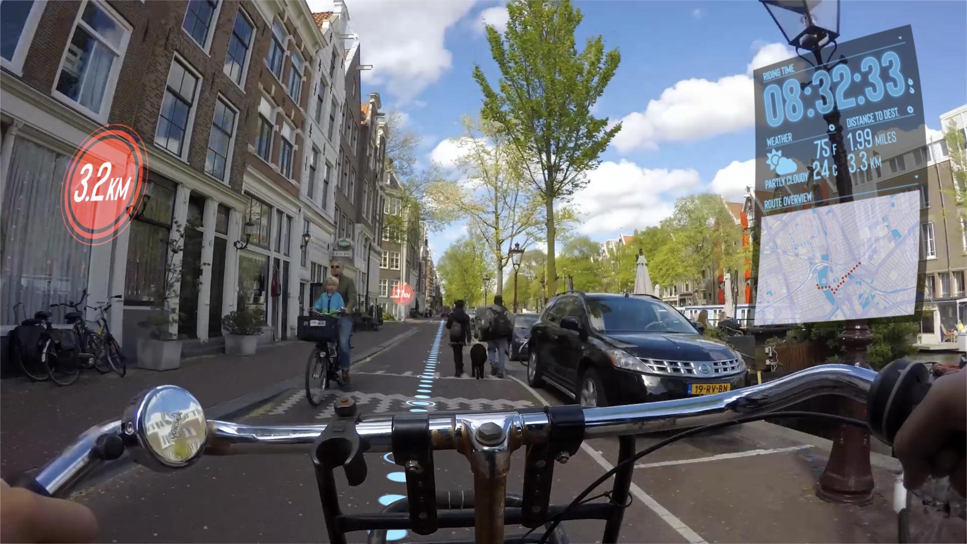 Radtour in Amsterdam mit Augmented Reality Überlagerungen